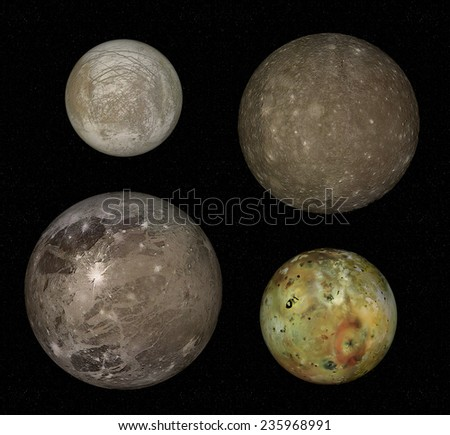 moons jupiter four biggest moons jupiter stock illustration