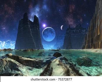 Moonscape over Alien Ocean