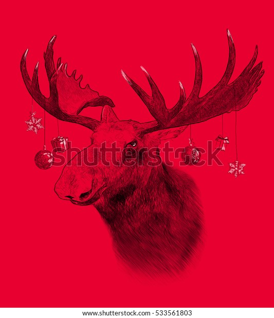 Moose on red background. Illustration in draw, sketch style. Funny Christmas humor