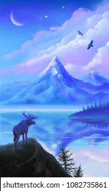 Moose silhouette on a forest lake background. Northern landscape.