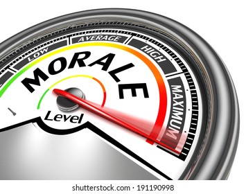 morale conceptual meter indicate maximum, isolated on white background