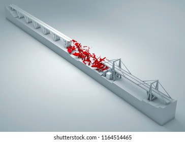 Morandi Bridge of Genoa, collapsed bridge, poor maintenance. Reconstruction and demolition of the entire bridge. Italy, region of Liguria. 3d rendering