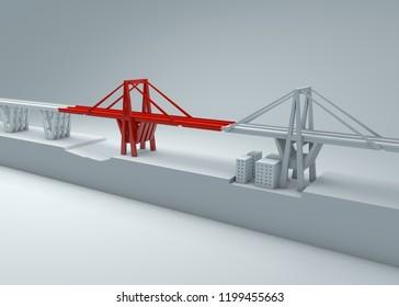 Morandi Bridge of Genoa, collapsed bridge, poor maintenance. Reconstruction and demolition of the entire bridge. Italy, region of Liguria. 3d rendering
