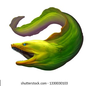 Moray eel Green. Large green moray eel with open mouth and thick row of sharp teeth of needles.