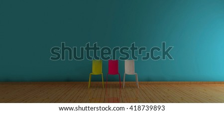 Cool More Chair Yellowredwhite Blue Wall 3 D Stock Illustration Pabps2019 Chair Design Images Pabps2019Com