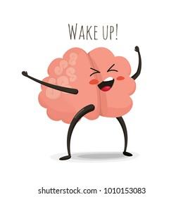 Morning brain cartoon character, illustration isolated on white, healthy lifestyle icon, awakened mind symbol