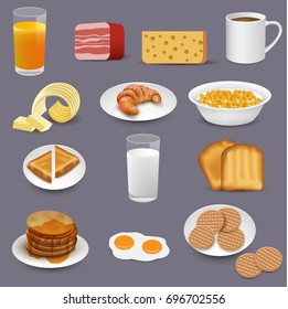 Morning food and drinks symbols, breakfast icons