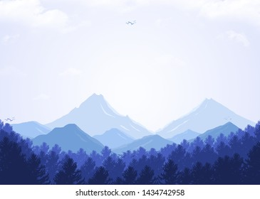 Morning illustrations with mountain and forest views