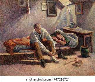 Morning, Interior, by Maximilien Luce, 1890, French Neo-Impressionist, oil on canvas. Pointillist painting of Luce\x90s close friend and fellow painter Gustave Perrot dressing in his artists garret
