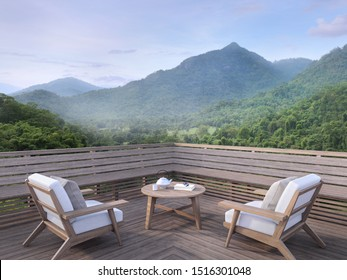 Morning mountain view on a wooden balcony 3d render. There are old wood terrace.Furnished with fabric and wooden furniture. overlooking the surrounding nature view.