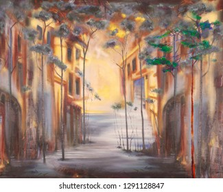 Morning narrow street. Oil painting cityscape.