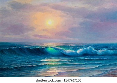 Morning on sea, wave, illustration, Oil painting paints on a canvas.