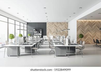 Morgengrauen Büro mit Holzwand, hellen Möbeln, zwei Reihen von Arbeitsplätzen. 3D-Rendering