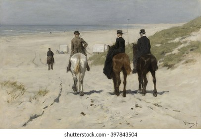 Morning Ride along the Beach, by Anton Mauve, 1876, Dutch painting, oil on canvas. Three bourgeois riders descend to the beach, where the bathing cabins stand ready for swimmers