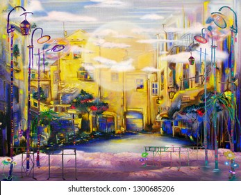 Morning street with clouds and old lanterns. Oil painting cityscape.