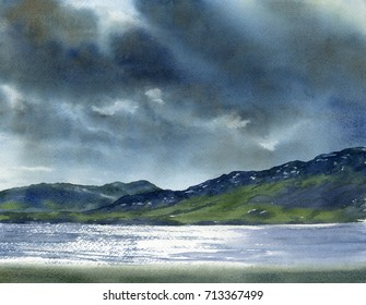 Morning Sun Reflections through Storm Clouds.  Watercolor landscape painting of storm clouds, mountains and water with reflections of the sun.