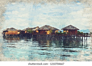 morning sunrise in Sipadan village, Mabul-Sipadan, Malaysia. Impasto oil panting didital art .