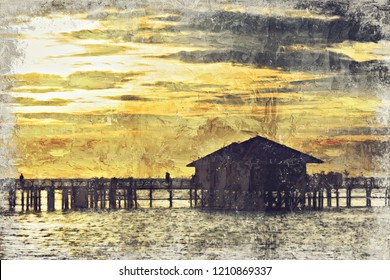morning sunrise in Sipadan village, Mabul-Sipadan, Malaysia. Digital Art Impasto Oil Painting by Photographer.