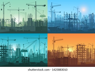 Morning sunrise, sunset and day building constructions background set.  Industrial building process under construction.
