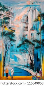 Morning winter blue town. Oil painting cityscape.