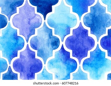 Moroccan quatrefoil pattern in watercolor
