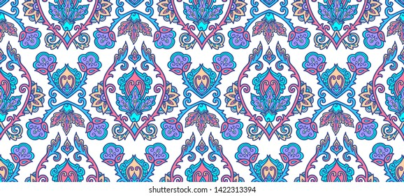 Moroccan style blue lineart traditional Turkish floral ornament on white background, raster seamless pattern tile.