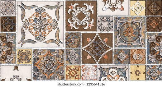 Moroccan tiles, ornaments, random wall tiles design or Brown Colored wall tiles Decor For home or wall decor on brown beige marble.