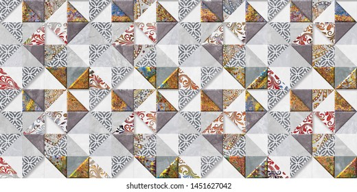 Moroccan tiles, ornaments, random wall tiles design or multi Colored wall tiles Decor For home, wall decor on brown beige marble,Endless pattern can be used for wallpaper, linoleum, textile, webpage.