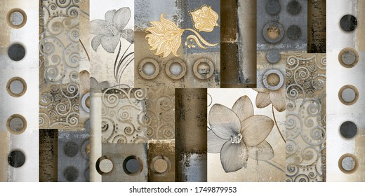 Moroccan tiles, ornaments, random wall tiles design or multi Colored wall tiles Decor For home, wall decor on brown beige marble,Endless pattern can be used for wallpaper, linoleum, textile.