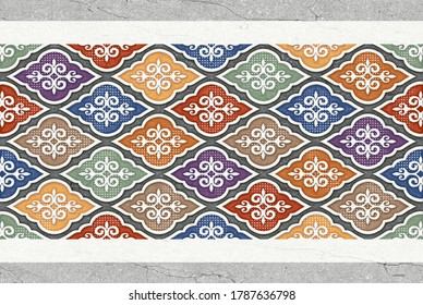 Moroccan tiles, ornaments, random wall tiles design or multi Coloured wall tiles Decor For home, wall decor, Endless pattern can be used for wallpaper, linoleum, textile, webpage - 3D illustration
