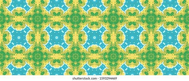 Moroccan Zellige. Khaki Folklore Fabric Design. Teal Turkish Kaleidoscope. Cream Green Medallions Decor. Aqua Ochre Floral Geo Wallpaper. Blue Yellow Graphic Delftware Pattern.