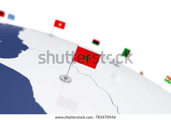 Morocco flag. Country flag with chrome flagpole on the world map with neighbors countries borders. 3d illustration rendering flag
