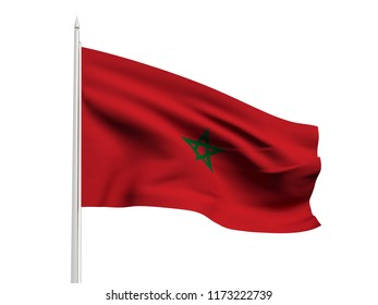 Morocco flag floating in the wind with a White sky background. 3D illustration.