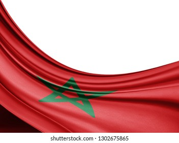 Morocco  flag of silk with copyspace for your text or images and white background-3D illustration