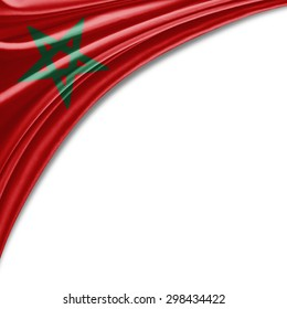 Morocco flag of silk with copyspace for your text or images and white background