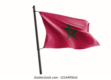 Morocco Flag Waving Wind On Isolated White Background. 3D Illustration Of Wave And Fabric Morocco Flag.