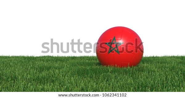 Morocco Moroccan flag soccer ball lying in grass, isolated on white background. 3D Rendering, Illustration.