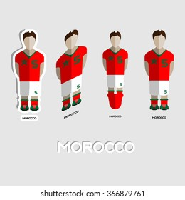Morocco Soccer Team Sportswear Template. Front View of Outdoor Activity Sportswear for Men and Boys. Digital background raster illustration. Stylish design for t-shirts, shorts and boots.