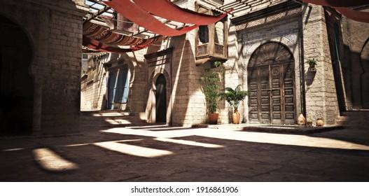 Marokko-Themenhintergrund: leerer, gesteinigter Innenhof mit schattigen Tapisserien und Akzenten von Töpfen und Pflanzen. 3D-Rendering