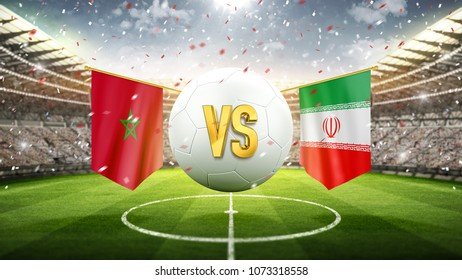 Morocco vs Iran. Soccer concept. White soccer ball with the flag in the stadium, 2018. 3d render