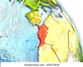 Moroccoin red color on model of Earth. 3D  illustration with detailed planet surface, clouds and reflective ocean waters. Elements of this image furnished by NASA.