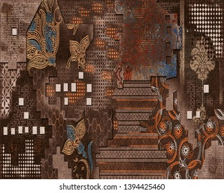 Morraro wall Decor,Digital Wall Tile Design, Wall tiles Decor on Brown Colored Marble For Home Decoration,3D illustration can used for wallpaper, linoleum, textile, web page background.Wall Tillable.