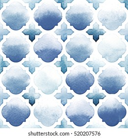 Morrocan ornament of blue colors on white background. Watercolor seamless pattern. Riverside and Airy Blue.