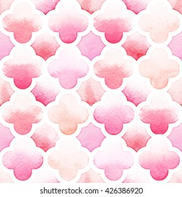 Morrocan ornament of pink colors with quatrefoil on white background. Watercolor seamless pattern