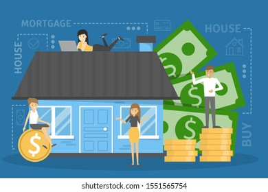 Mortgage concept. Idea of property loan and credit. Finance investment in real estate.  illustration in cartoon style