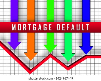 Mortgage Default Arrow Depicting Home Loan Overdue Or Shortfall. Failure To Pay Off Line Of Credit Debt - 3d Illustration
