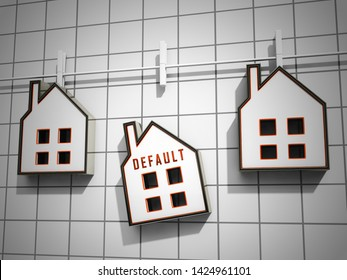 Mortgage Default Icon Depicting Home Loan Overdue Or Shortfall. Failure To Pay Off Line Of Credit Debt - 3d Illustration