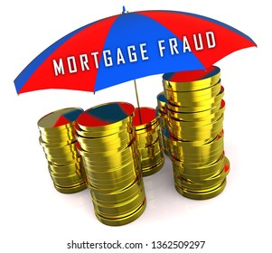 Mortgage Fraud Coins Represents Property Loan Scam Or Refinance Con. Fraudster Doing Hoax For Finance Or Equity Release - 3d Illustration