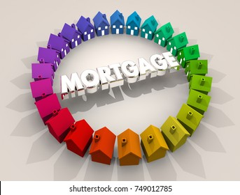 Mortgage Home Loan Houses Ring Real Estate Borrow Money 3d Illustration