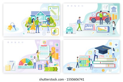 Mortgage and personal loan, student money borrowings, posters set raster. Education of people, buying car and transport, house, business start up